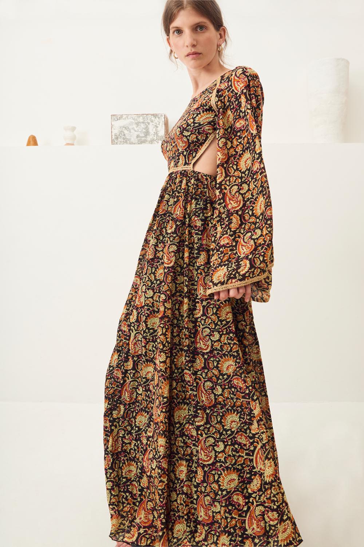 Maxi-robe dos-nu imprimée Cherie - Noir - Antik Batik (photo)