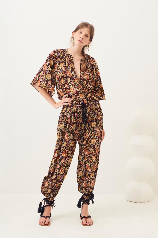 Pantalon sarouel imprimé Chérie - Noir - Antik Batik (photo)