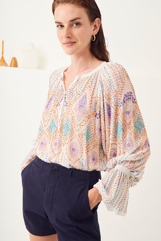 Blouse brodée Emilia - Blanc - Antik Batik (photo)