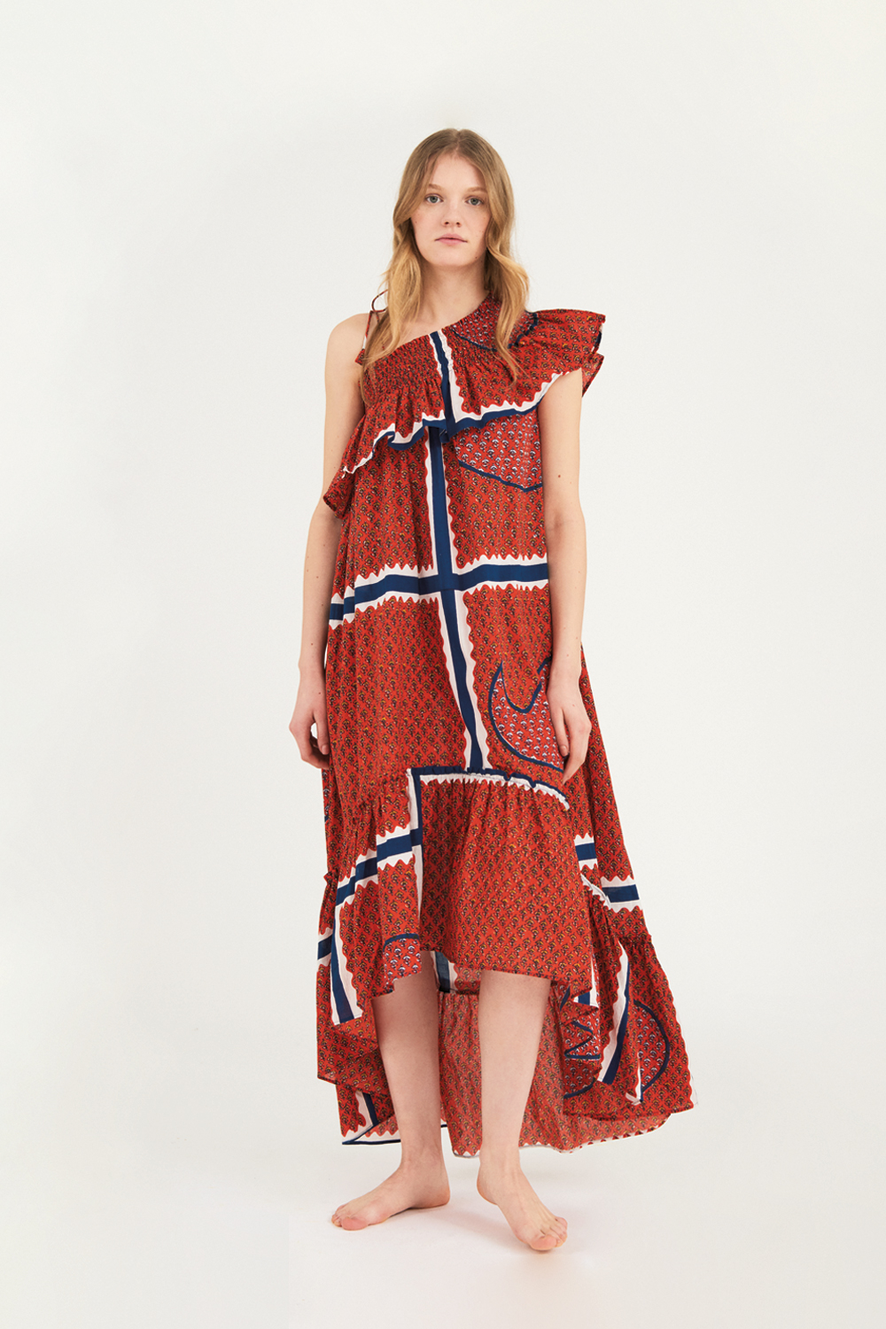 Robe longue asymétrique Gisele - Rouge - Antik Batik (photo)