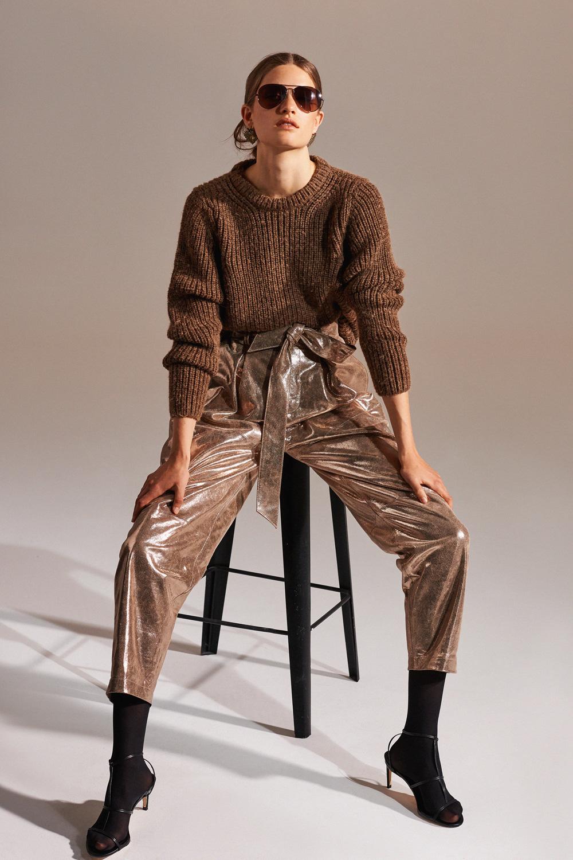 Pantalon en cuir Glocia - Doré - Antik Batik (photo)