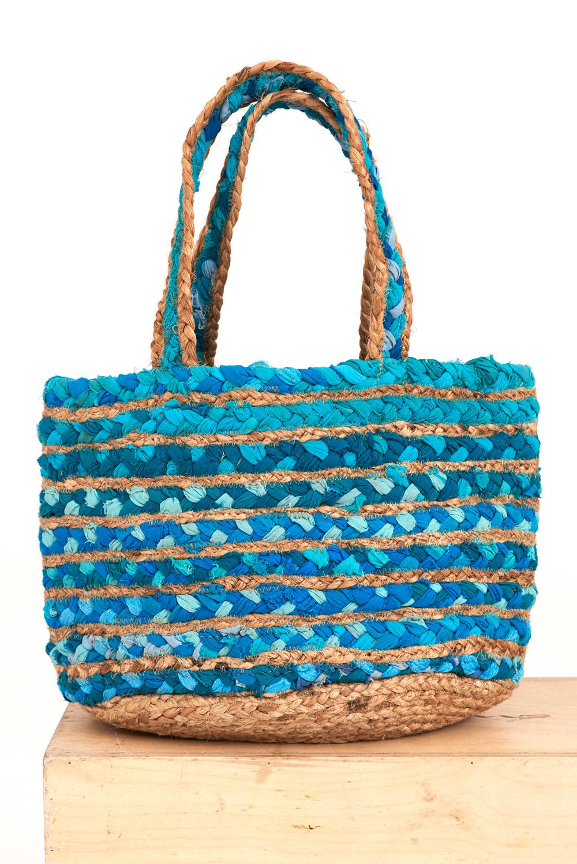 Cabas jute tressée Jella - Turquoise - Antik Batik (photo)