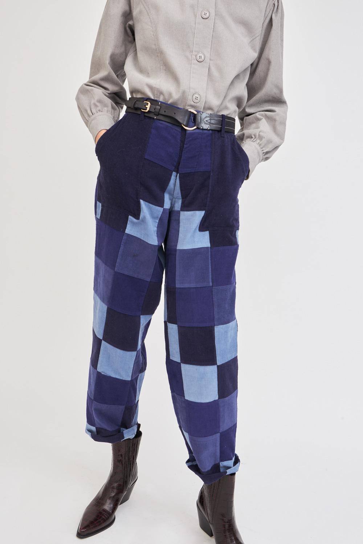 Pantalon bleu en patchwork Lema - Antik Batik (photo)