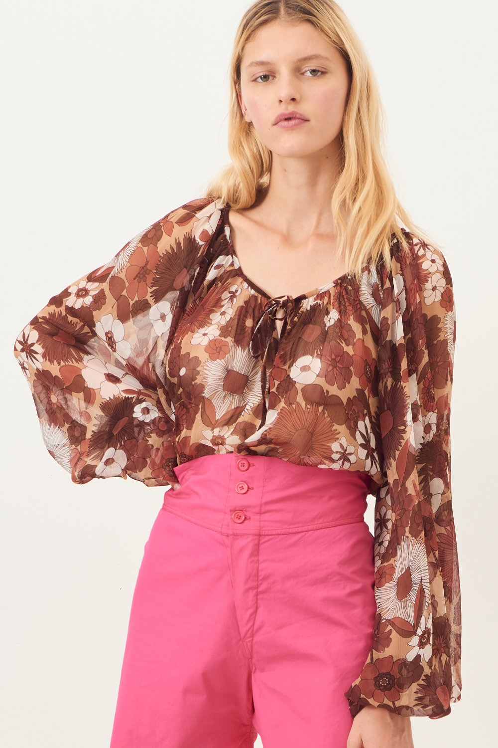 Blouse transparente Lorette - Marron - Antik Batik (photo)