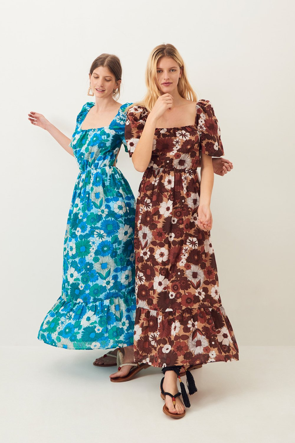 Robe longue dos nu Lorette - Marron - Antik Batik (photo)