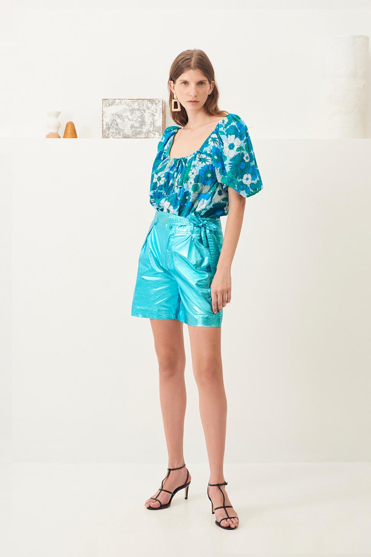Short taille haute brillant Lumi - Turquoise - Antik Batik (photo)