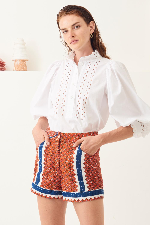 Blouse manches bouffantes popeline Malia - Blanc - Antik Batik (photo)