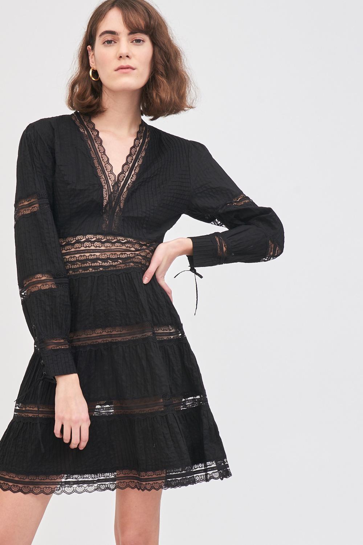 Robe en dentelle ajourée Mary - Noir - Antik Batik (photo)