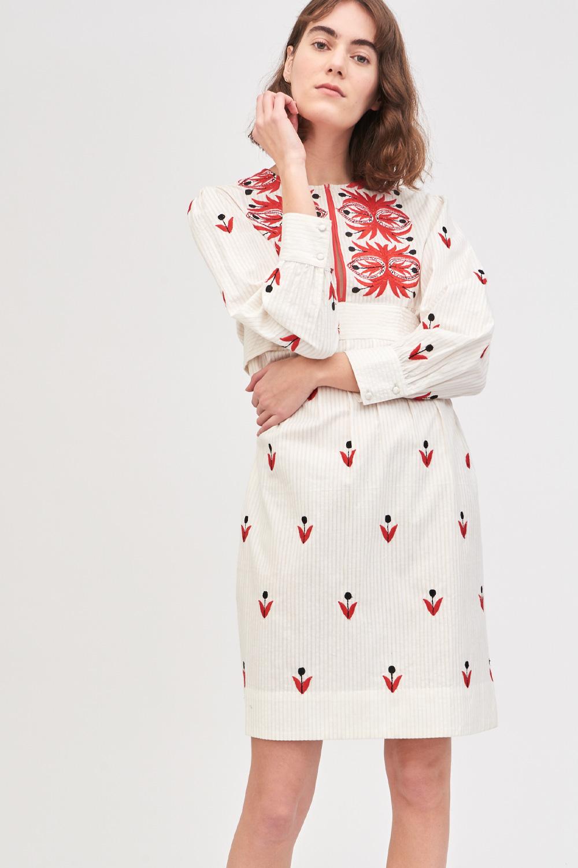 Robe courte brodée Mexi - Crème - Antik Batik (photo)