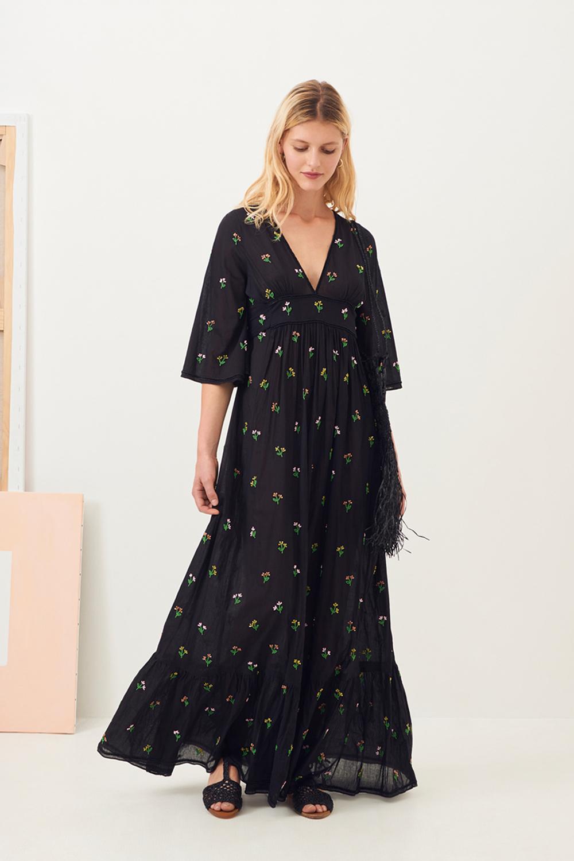 Robe longue bohème brodée Oriana - Noir - Antik Batik (photo)