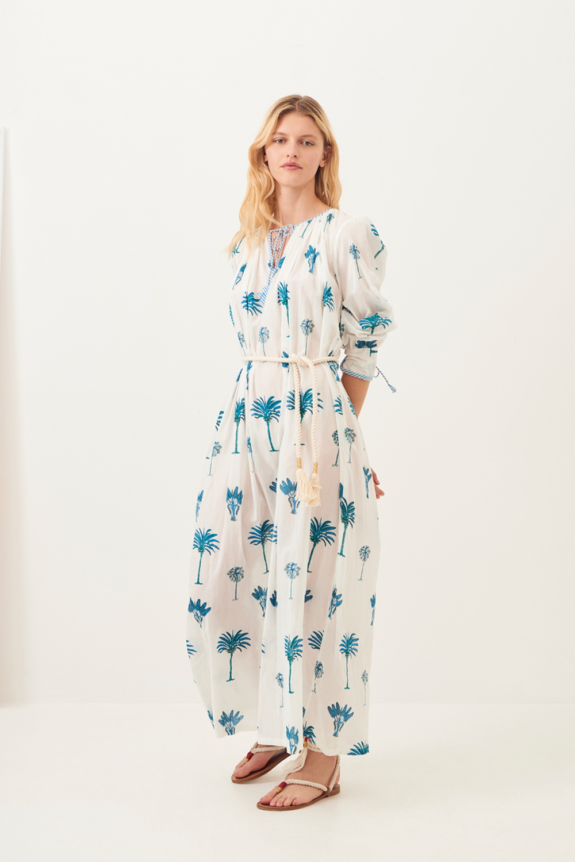 Maxi robe fluide Palmy - Bleu - Antik Batik (photo)