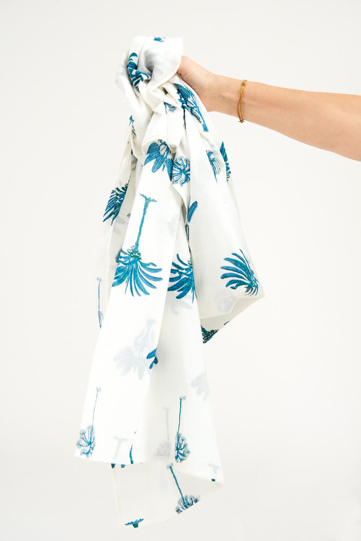 Paréo coton Palmy - Bleu - Antik Batik (photo)