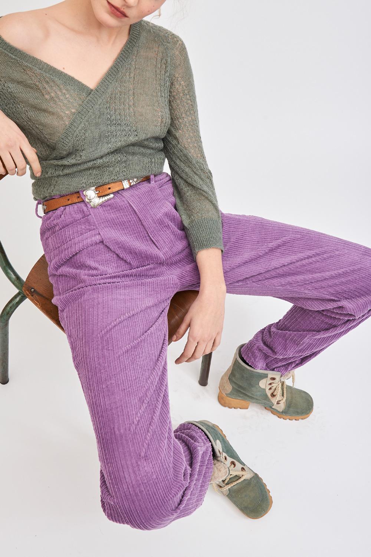 Pantalon en velours côtelé Pipa - Violet - Antik Batik (photo)