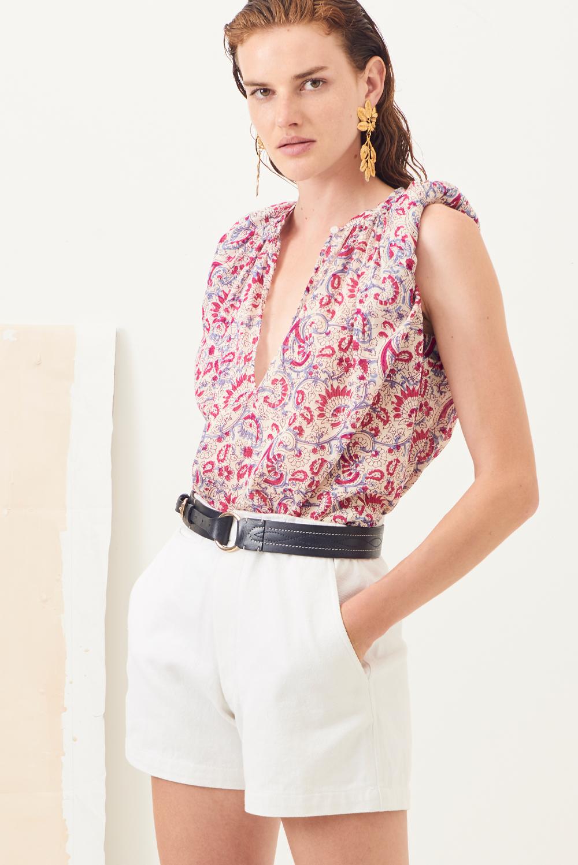Short taille haute coton Ronan - Blanc - Antik Batik (photo)