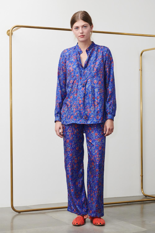 Pantalon imprimé Silky en soie bleu - Antik Batik (photo)