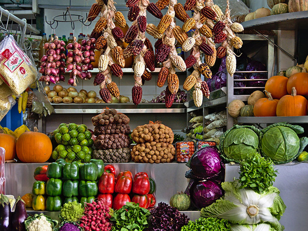 Mercado -  colores - comida - lima - anti batik